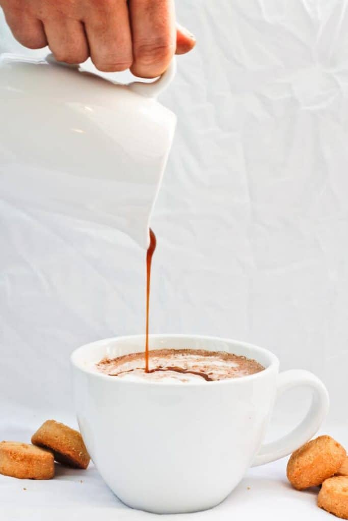 This vegan-friendly Spicy Hot Chocolate is made with chile de arbol, chocolate, cinnamon, and either milk or coconut milk, leaving you with a decadently spiced winter treat.