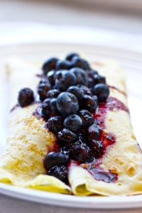 Vegetarian Applesauce Crepes with Blueberries - For a delicious, sweet yet healthy treat, or a decadent breakfast