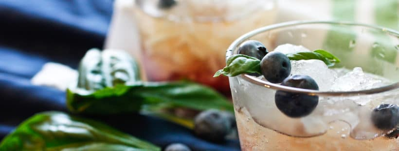 Blueberry Basil Julep - Muddle basil leaves with blueberry simple syrup, add crushed ice, add bourbon, and drink up!