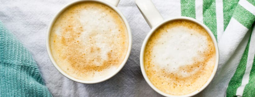 Pumpkin Spice Latte with REAL Pumpkin. Ready in 15 minutes, or Prep the pumpkin puree the night before, and it's ready in 5 minutes!