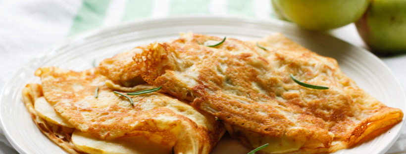 Savory Rosemary Apple Crêpes- A quick and easy lunch