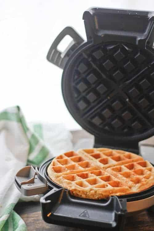Easy, Fluffy, Dairy Free Coconut Waffles made in the Cuisinart Vertical Waffle Maker