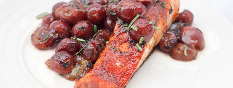 The easy Seared Paprika Salmon with Grapes is ready in about 10 minutes, and is perfect for weeknight dinners, date nights, or as the seafood centerpiece at a dinner party.