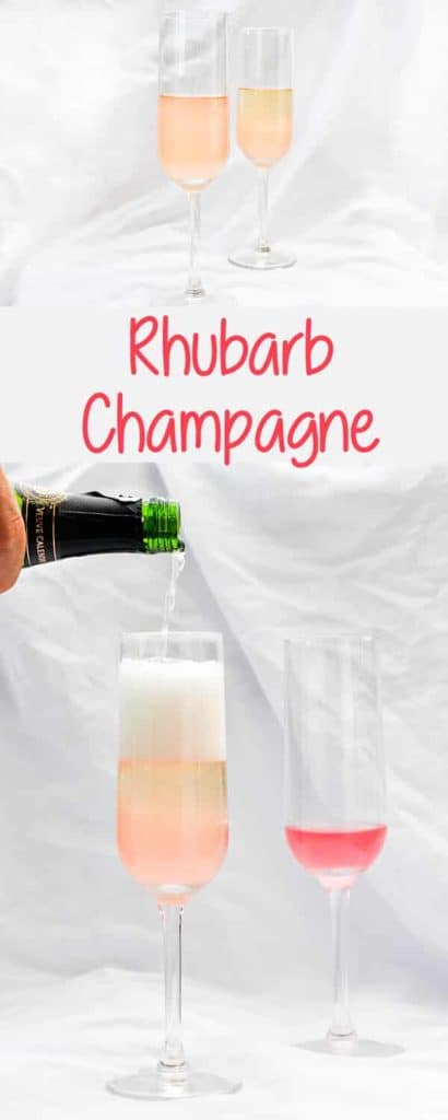 This Rhubarb Champagne is a springtime take on a mimosa, and is made with sparkling wine or champagne and rhubarb simple syrup.