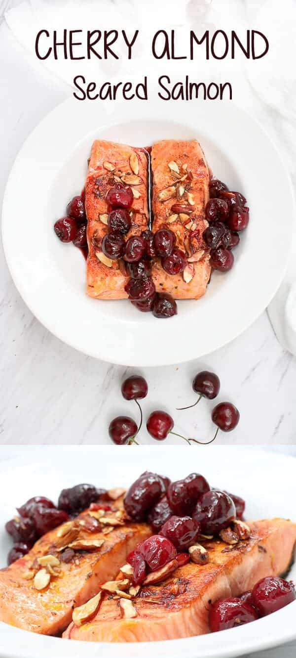 This Almond Cherry Seared Salmon is the perfect date night centerpiece, and features rich king salmon seared to perfection and topped with hot, juicy cherries and toasted almonds. #ad