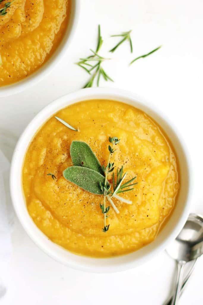 Golden Potato + Butternut Squash Leek Soup - from Rhubarbarians