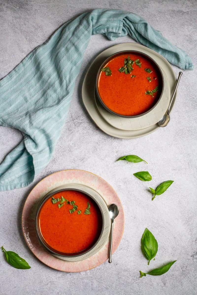 spiced tomato soup in bowls