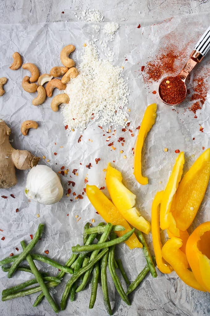 Vegetable korma veggies and cashew coconut paste ingredients