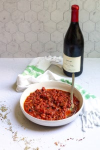 Red Wine Pasta Sauce in a bowl