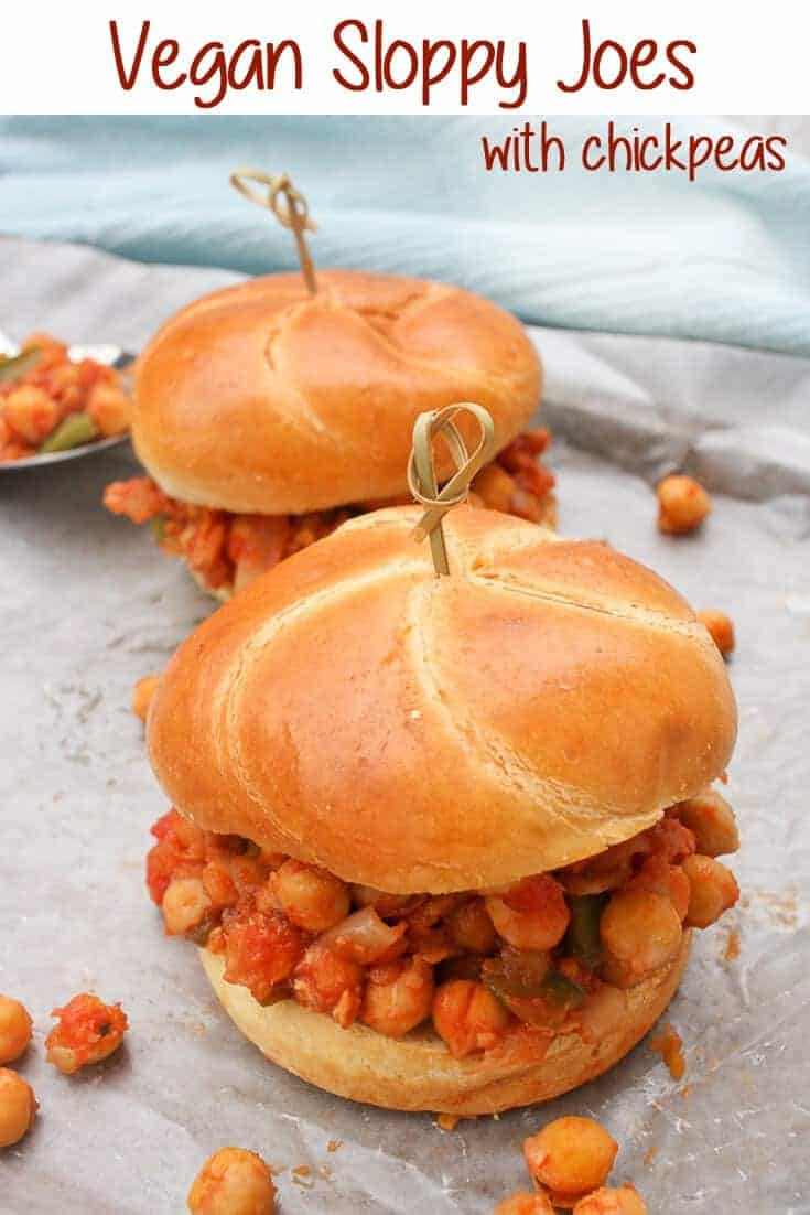 These easy-to-make Vegan Sloppy Joes are filled with tomato sauce, chickpeas, and fresh veggies. They're delicious, simple, and take about 15 minutes start to finish. #chickpeas #vegan #sandwiches
