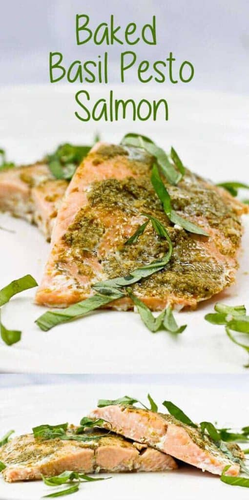 This easy Baked Basil Pesto Salmon delicious, ready in minutes, and is perfect for weeknight dinners.