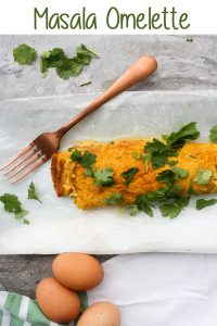 This Masala Omelette is a quick and delicious breakfast that's filled with easy-to-find Indian spices and topped with fresh herbs.