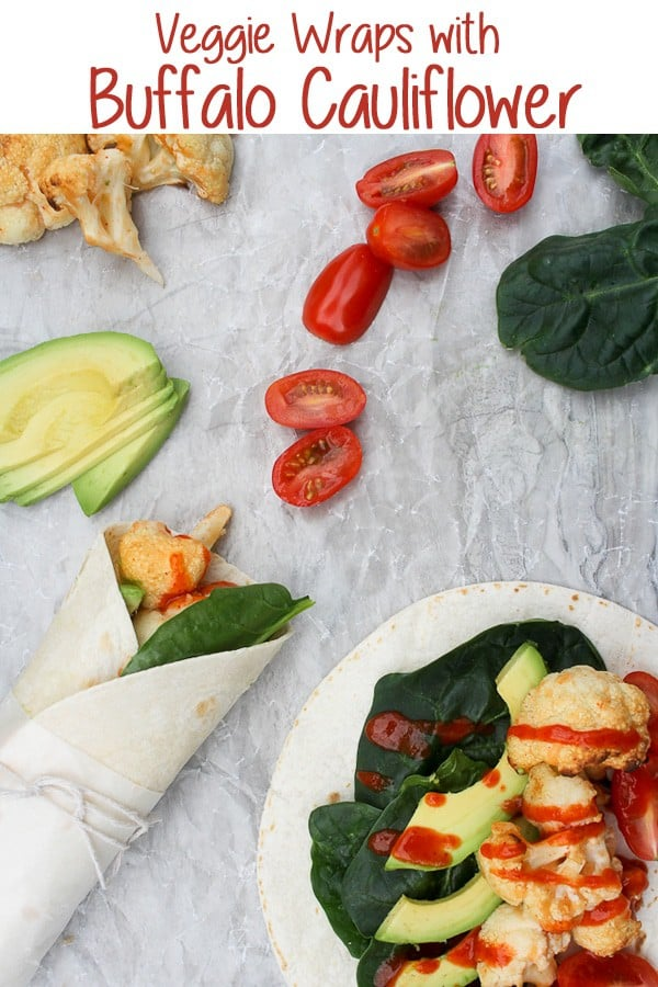 These vegan-friendly Veggie Wraps with Buffalo Cauliflower are filled with roasted, flavorful cauliflower, and piled high with fresh veggies!