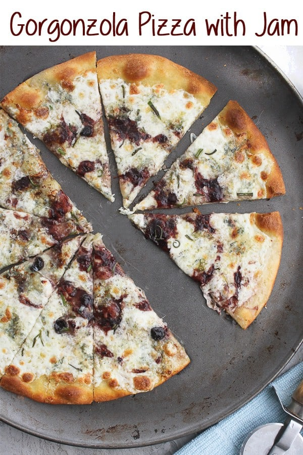 This easy Gorgonzola Pizza with Jam is a flavor-packed gourmet-style pizza!  It's topped with delicious gorgonzola and mozzarella cheeses, and finished with a jam drizzle. #pizza #gorgonzola #vegetarian #recipe
