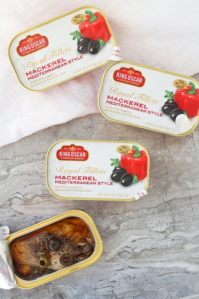 King oscar mediterranean canned mackerel on a counter