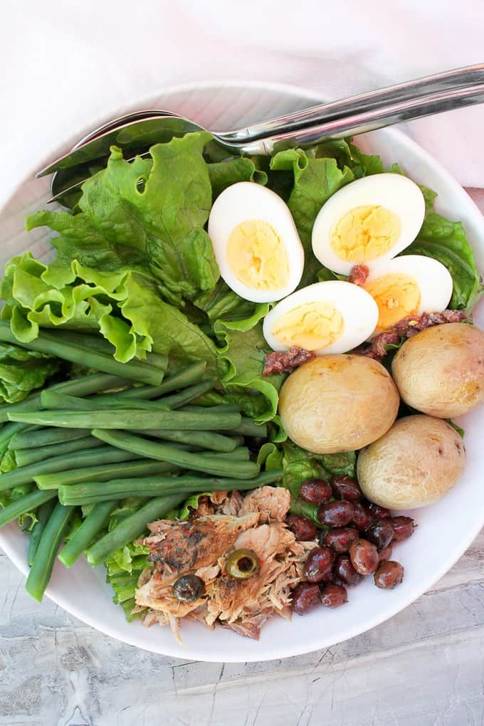 Mackerel Nicoise Salad in a serving dish (Canned Mackerel Recipe)