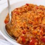 Red lentil dal in a serving dish