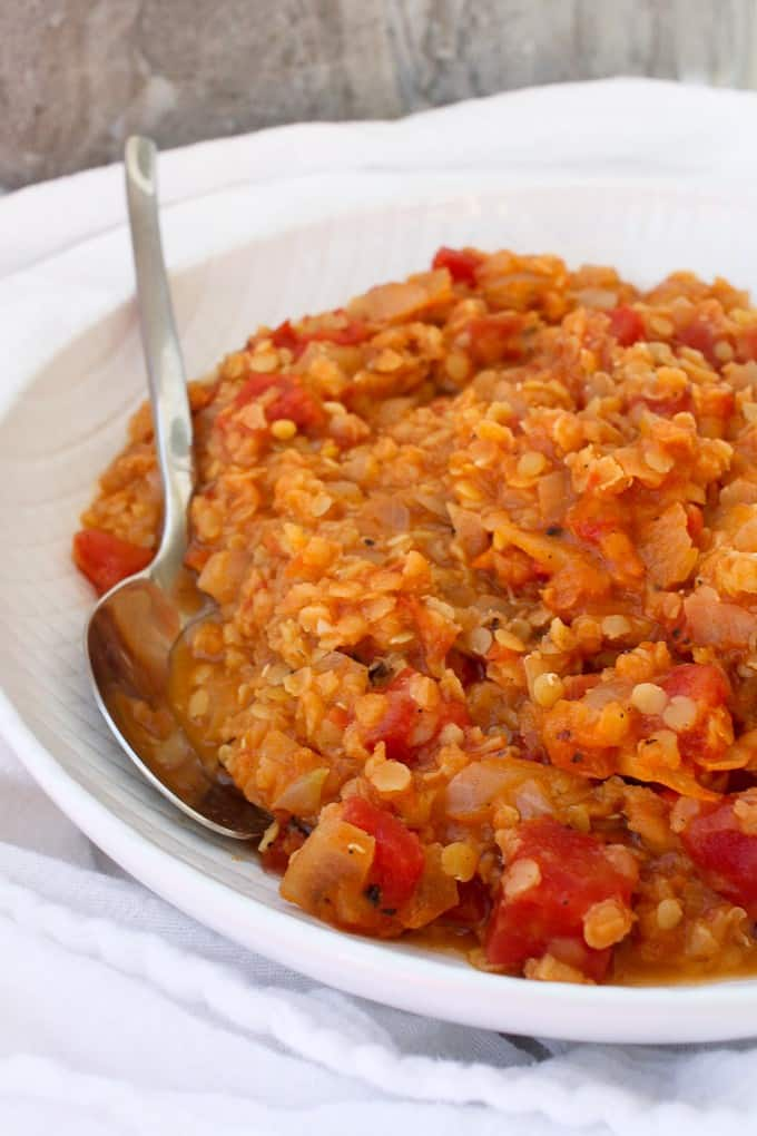 Red lentil dal in a serving dish