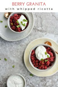 This Granita Recipe features Berry Lavender Granita with Whipped Ricotta.  It's a gourmet-level icy treat that can be made without any special ice cream equipment!