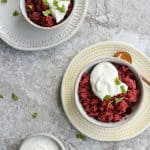 granita in bowls with whipped ricotta