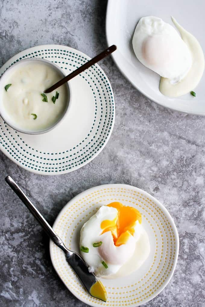poached eggs and dijon sauce