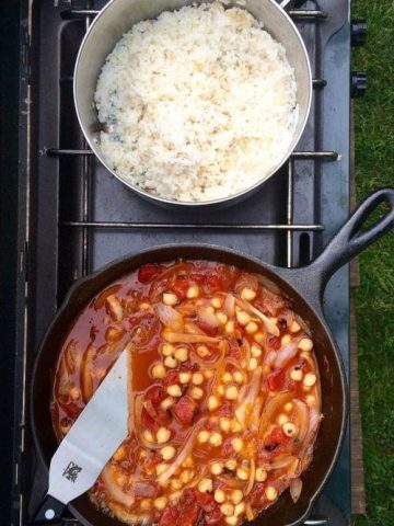 This Camp Stove Recipe features vegan Chickpea Curry + is FAST. It's ready in about 20 minutes, and will leave you feeling full + satisfied.