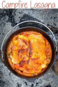 "This Campfire Dutch Oven Recipe is a Vegetarian Lasagna!  It's cooked in a cast iron Dutch oven over a fire, and is perfect for camping, ""glamping,"" and campfire dinners at home!"