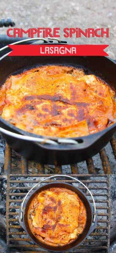 This Campfire Dutch Oven Recipe is a Vegetarian Lasagna!  It's cooked in a cast iron Dutch oven over a fire, and is perfect for camping,
