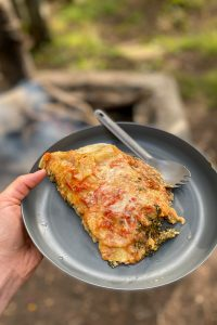 Spinach Campfire Lasagna on a Plate.