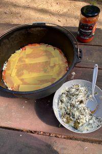 Add ⅓ Pasta Sauce + Noodles.