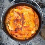 Campfire dutch oven recipe: finished lasagna