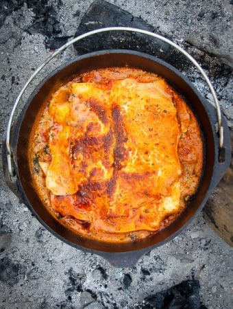Campfire dutch oven recipe: finished lasagna