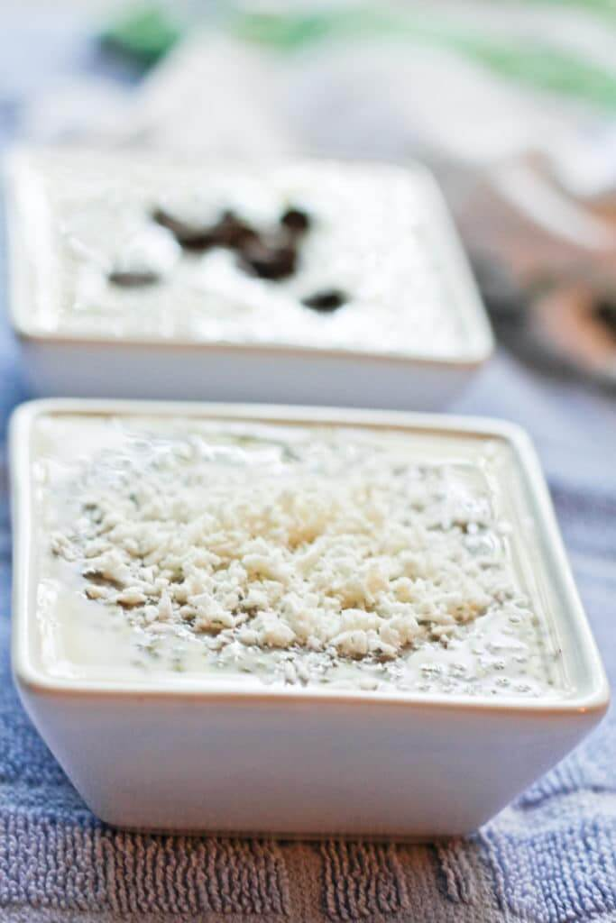 Masala Spiced Chia Pudding- Make this Vegan Breakfast or Dessert by mixing seeds, milk or milk substitute, sweetener, and Indian spices, and leaving it in the fridge for at least 4 hours.