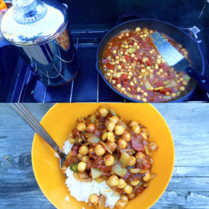 Glamping: Vegan Chickpea Curry / Chana Masala - A delicious, fast, camping friendly meal