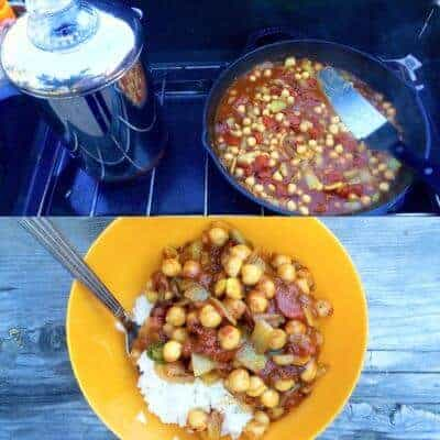 Camp stove Recipe cooking- Top frame is a percolator and curry on a campstove, and the bottom photo is curry and rice in an orange bowl.