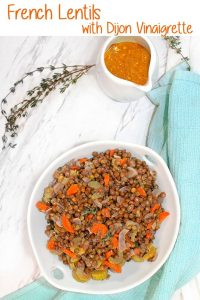 This recipe for delicious French Lentils with Dijon Vinaigrette is easy to make, and makes the perfect side dish!