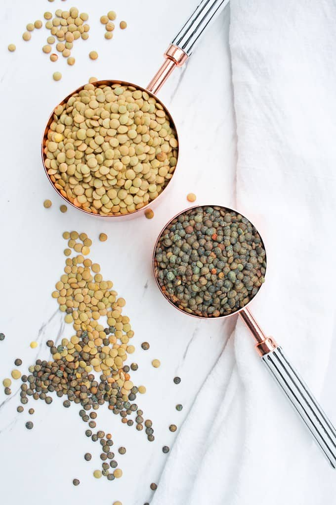 Regular Green Lentils and French Green Lentils