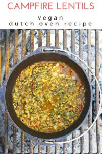 This easy vegan Campfire Dutch Oven Recipe features an easy take on Indian dal.  These spiced red lentils are cooked in a Dutch oven right on the campfire!
