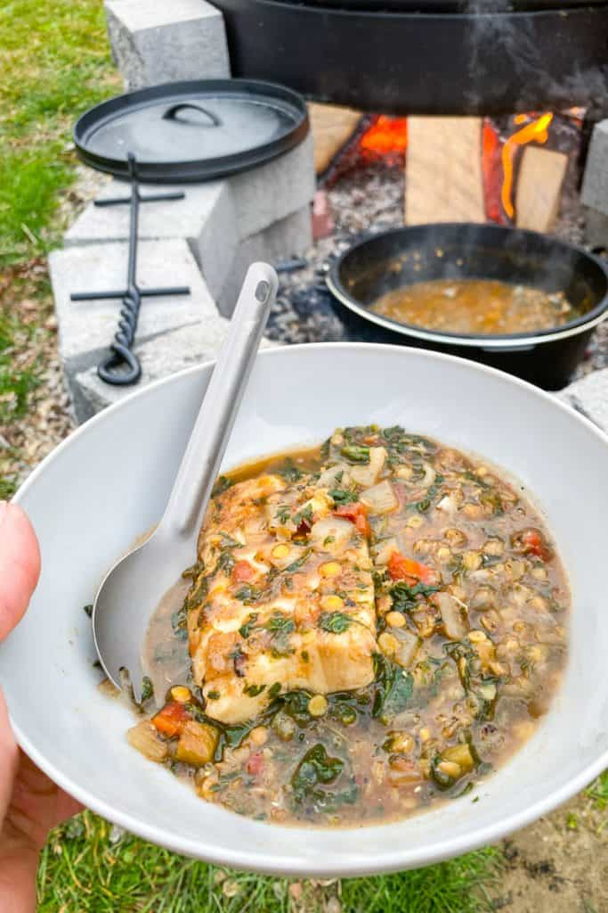 campfire fish lentil stew in a bowl