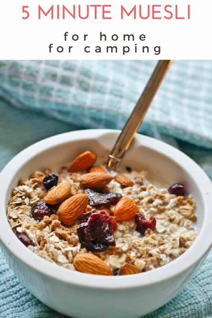 This easy muesli is a no cook, make ahead breakfast that's perfect for busy mornings or camping. This breakfast cereal is vegan and fast, and a perfect fuel for early morning hikes, #camping #recipe #breakfast #cereal #easy #nocook