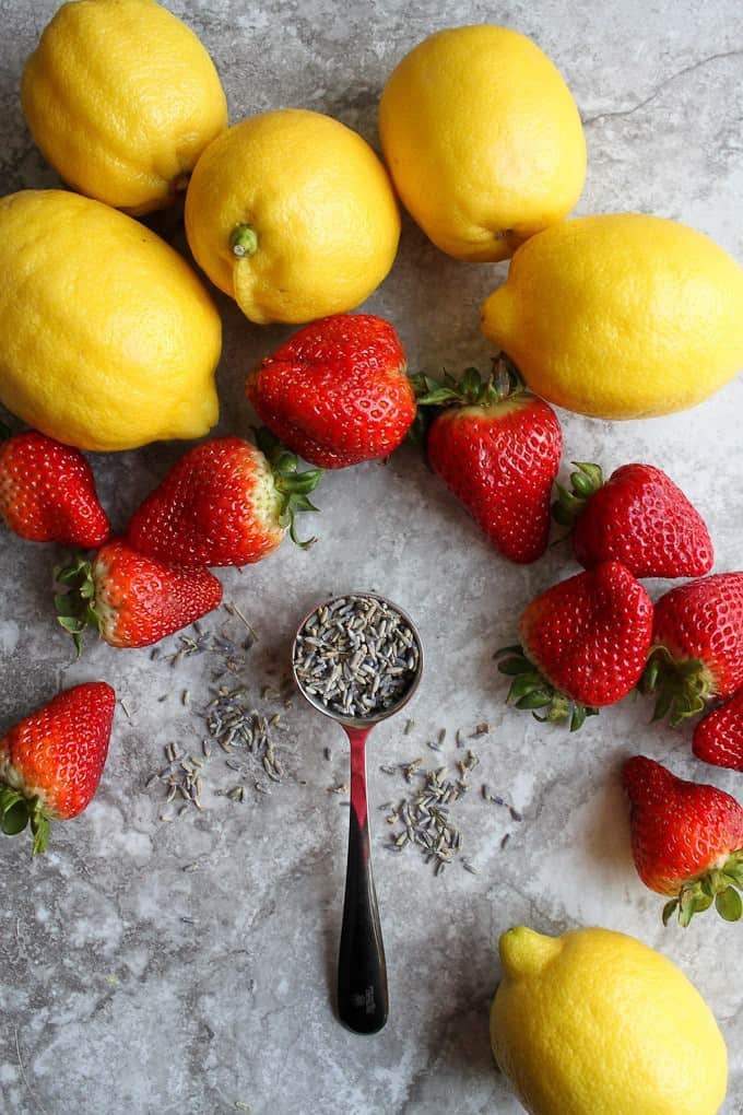 lemons, strawberries, and lavender