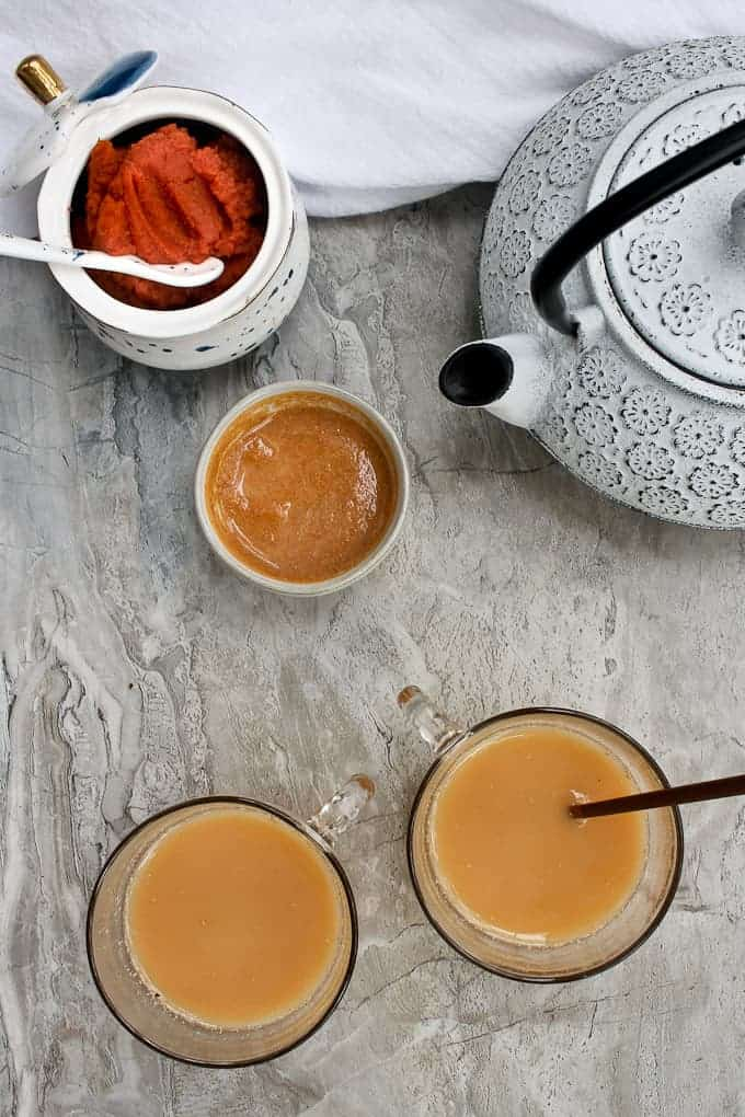 chai pumpkin spice latte with puree and teapot
