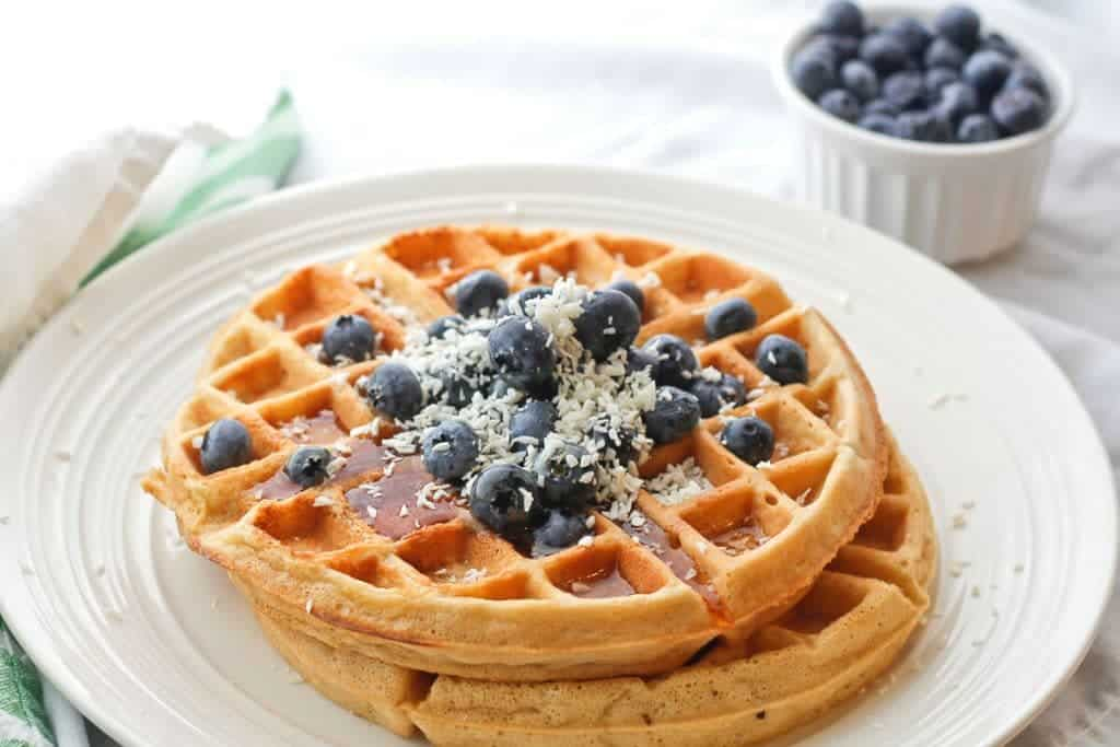 Dairy-Free Coconut Waffles on a plate