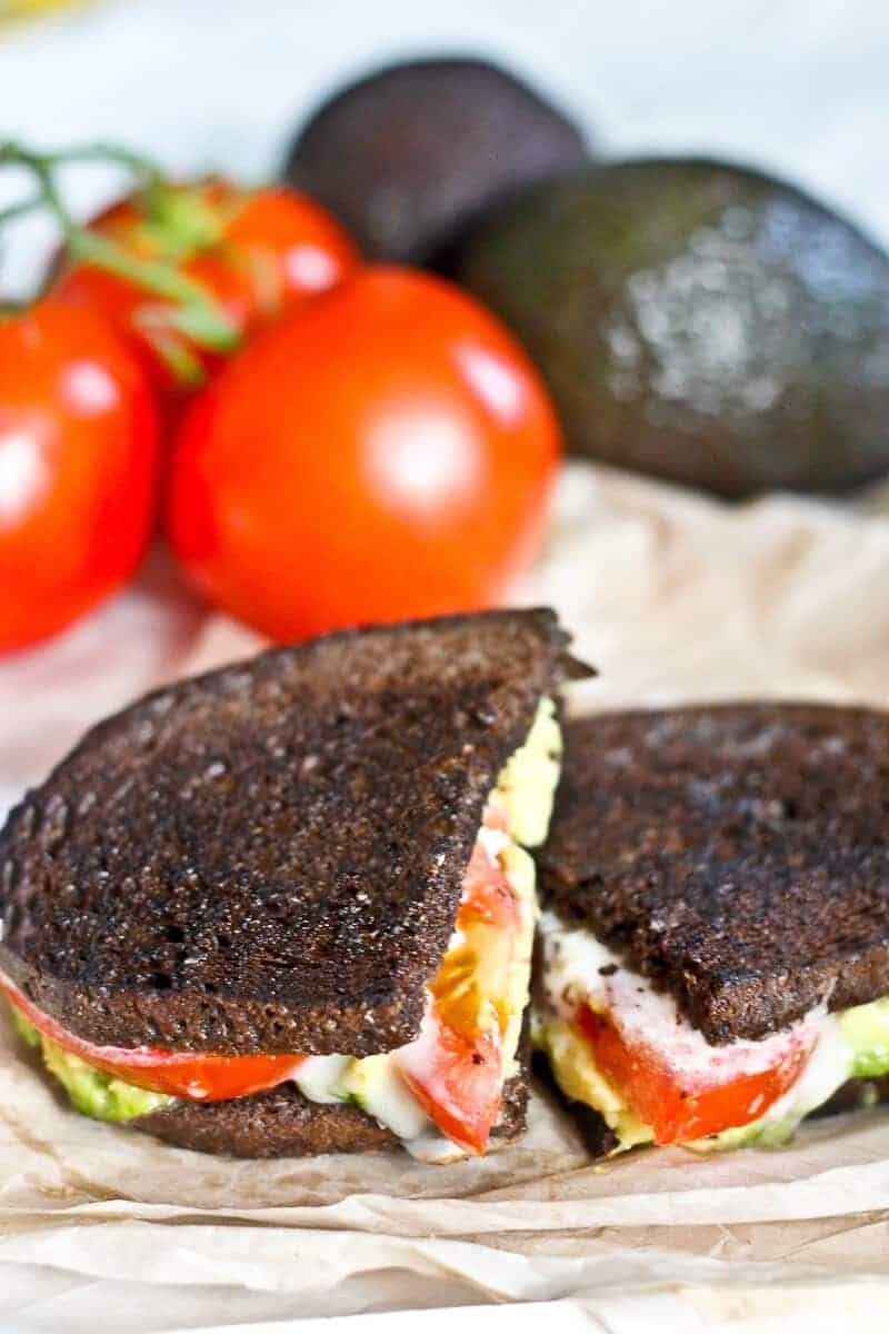 """This Stinky French Grilled Cheese with Avocado is for the food adventurer! This tasty grilled cheese uses a washed rind """"stinky cheese,"""" avocado, and tomato in dark pumpernickel bread for a flavor explosion!"""