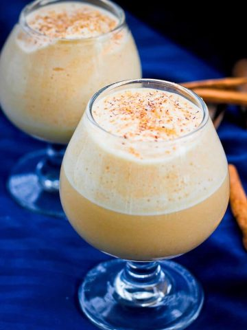 This easy Pumpkin Eggnog is fall take on the classic winter cocktail, and is ready start-to-finish in about 10 minutes.