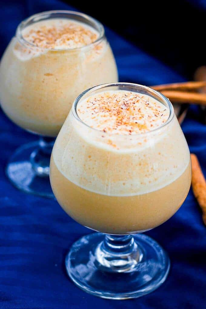 Pumpkin Eggnog in Small Glasses