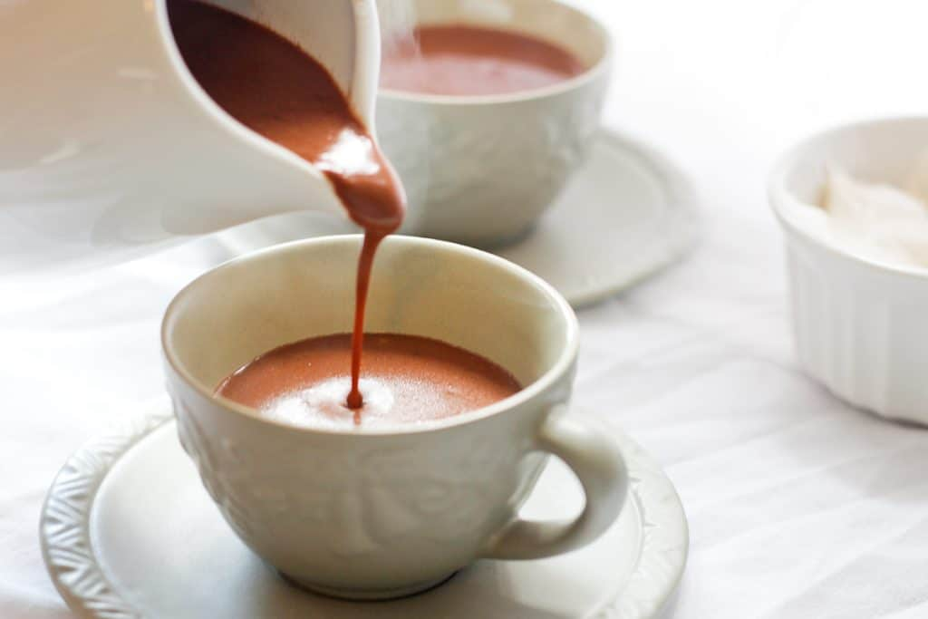 Pouring Salted French Hot Chocolate