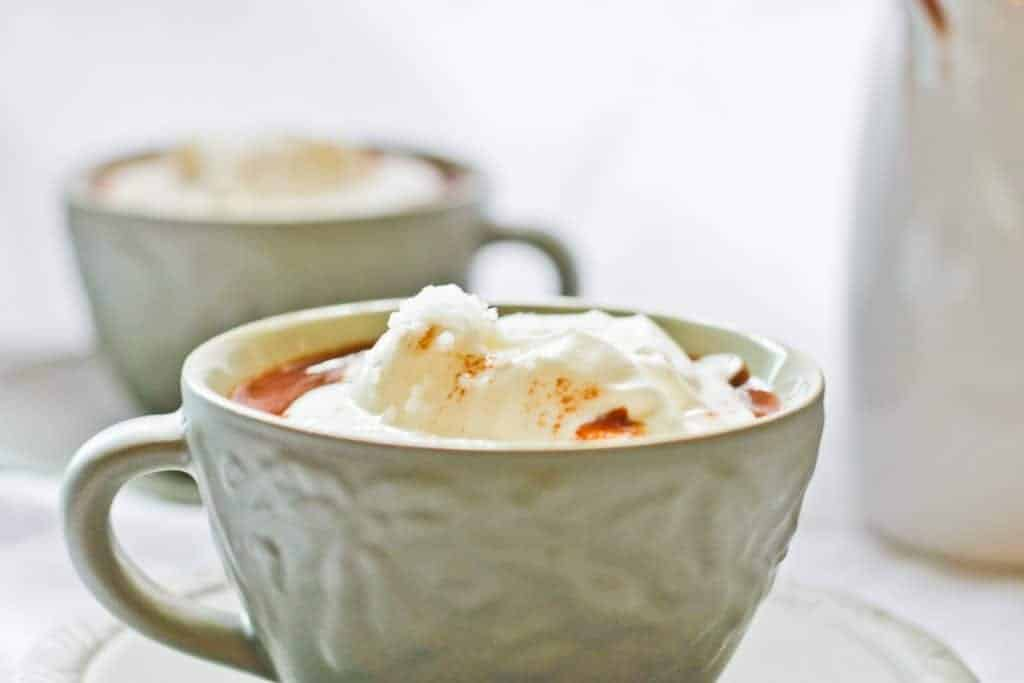 Salted French Hot Chocolate topped with whipped cream