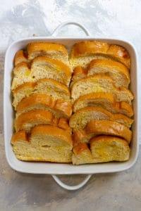 Layer the Bread in a Casserole Dish