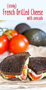 """This Stinky Cheese Recipe features a stinky grilled cheese sandwich for the food adventurer! This tasty grilled cheese uses a washed rind """"stinky cheese,"""" avocado, and tomato in dark pumpernickel bread for a flavor explosion!"""